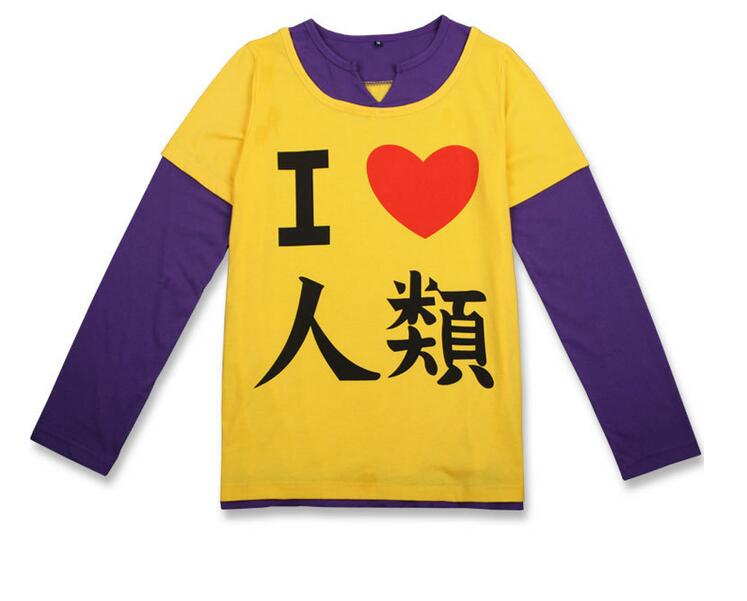 Free shipping No Game No Life Sora Cosplay T Shirts Costumes Men Long Sleeves T-shirts Adult Yellow Tops Summer Tees