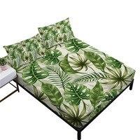 Folhas verdes tropicais conjunto de folha planta selva folha cabida folha plana rei rainha cama folhas bolso profundo fronha 3/4 pcs d30