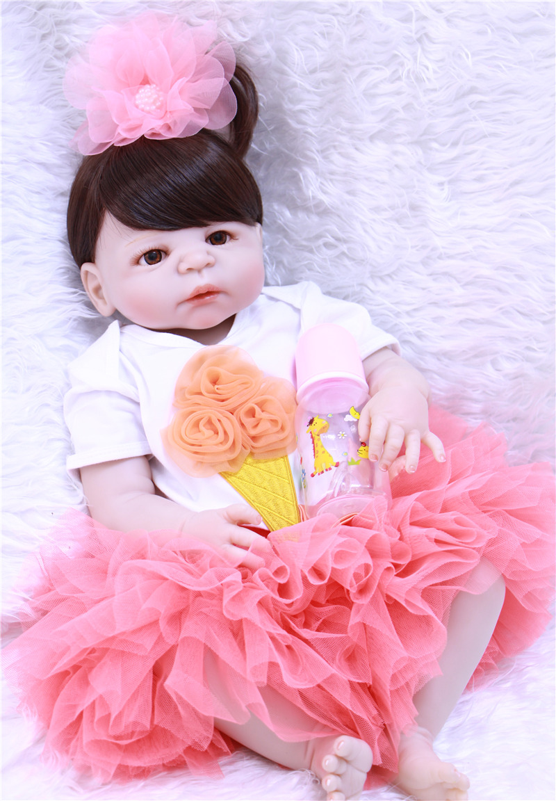 23 Full body silicone vinyl Reborn Toy Lifelike princess Real touch infant dolls Child birthday gifts play house briquedos23 Full body silicone vinyl Reborn Toy Lifelike princess Real touch infant dolls Child birthday gifts play house briquedos