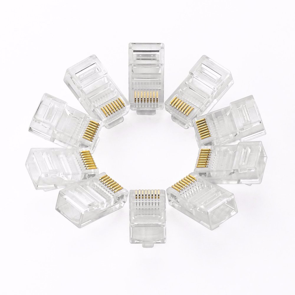 Cat5 Cat5e RJ45 Network Connector 8P8C Modular Ethernet Cable Head Plug Gold Plated Crimp Network RJ45 Connector Crystal Plug
