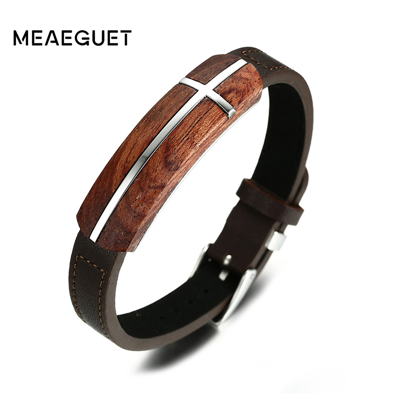 Meaeguet Vintage Rosewood Genuine Leather Bracelet for Men Wooden Street Jewelry Bracelet Homme Adjustable недорго, оригинальная цена