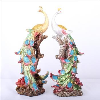 Longree Resin Phoenix Statue Colorful Bird Phoenix Figurine Sculpture Peacock Home Furnishing Decorative Office Bar Decor