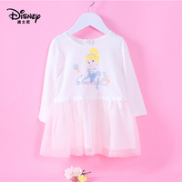 Disney Princess mesh dress spring and autumn Korean long sleeved pleated girls dress