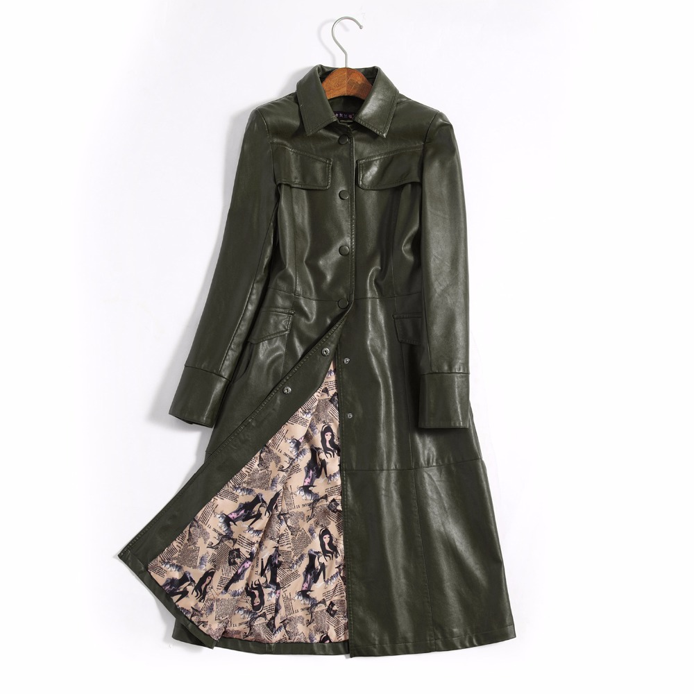 Image 5 - 5xl especially female leather autumn long faux jackets coat  single breast turn down collar large swing women leather trench  coatwomens leather trench coatleather trench coatwomens leather  trench