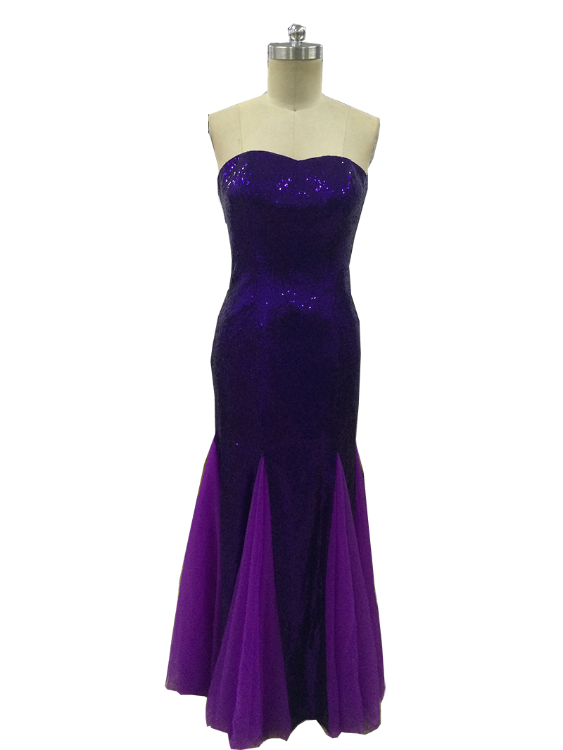 Beauty Sweetheart Mermaid Sequins   Bridesmaids     Dresses   Tulle Long Purple Party   Bridesmaids   Gowns