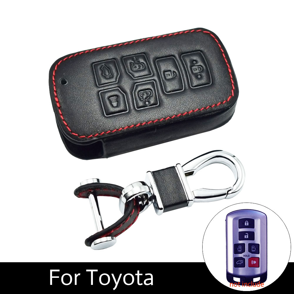 ATOBABI 6 Buttons Leather Car Key Case Cover For Toyota Sienna 2012 2014 2016 Tacoma Car Keychain with Key Ring Car StylingATOBABI 6 Buttons Leather Car Key Case Cover For Toyota Sienna 2012 2014 2016 Tacoma Car Keychain with Key Ring Car Styling