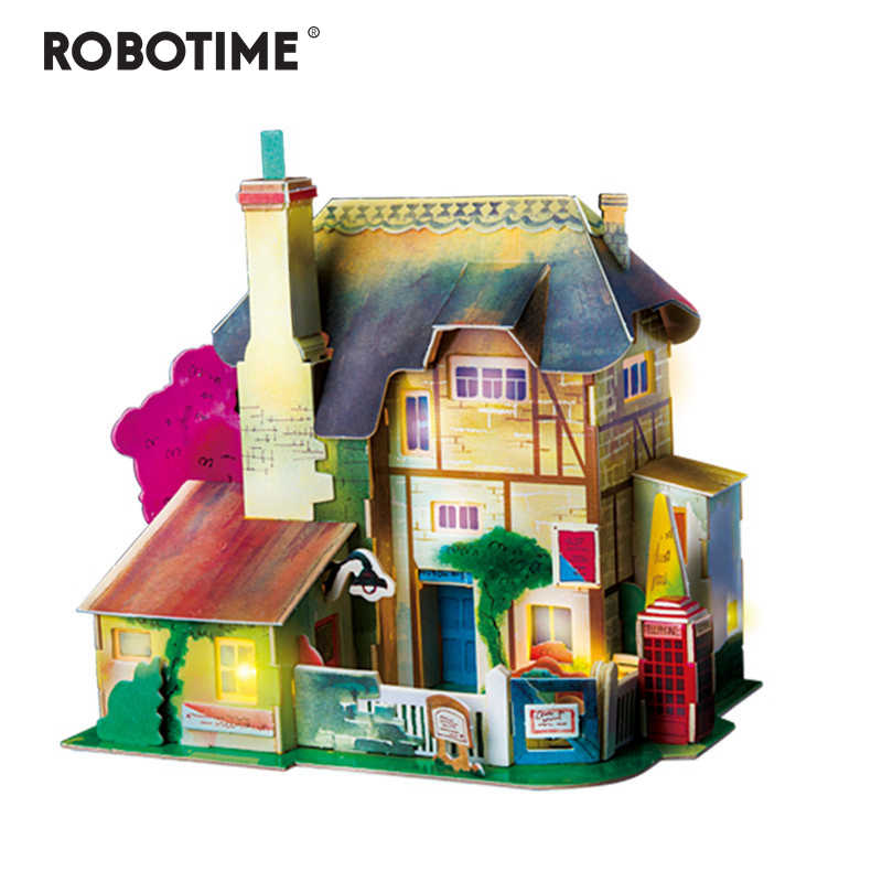 Robotime New DIY England Hut Doll House with Led Light Children Adult Miniature Wooden Model Building Dollhouse Toy SJ304
