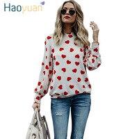 HAOYUAN Güzel Kalp Baskı Pamuk T Gömlek Kadınlar Rahat Üstleri Uzun Kollu Tişört 2018 Bahar Sonbahar Tshirt sevgililer Günü t-shirt