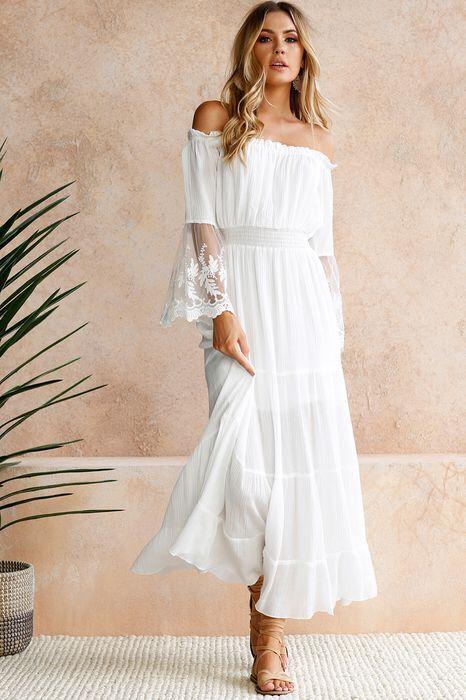 White Dress Elegant Boho Chic Long Dress Beach Casual ...