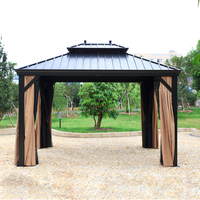 10'x12' steel Hardtop Aluminum Permanent Gazebo with 2 Layers Sidewalls all weather for garden patio outdoor