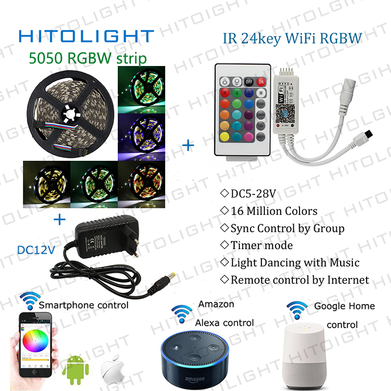 Wifi RGBW WW strip Music controller By Amazon Alexa Google Home Smart Phone Syc Control 5050