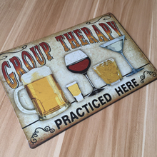"""Super cool """"Group Therapy Practiced Here"""" bar / home decor metal sign"""