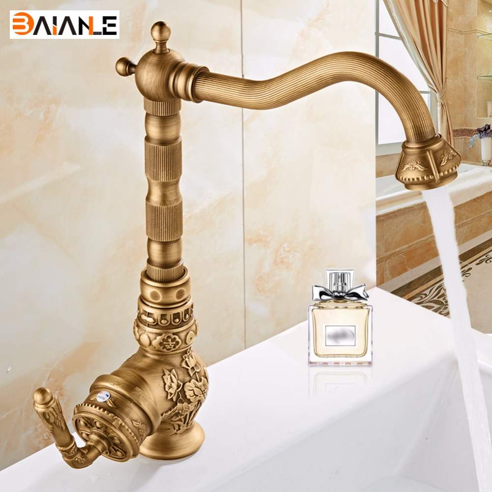 Fashion Europe Style Brass Bronze Finished Carved Kitchen Faucet Swivel Tall Kitchen Mixer Tap Basin Faucet