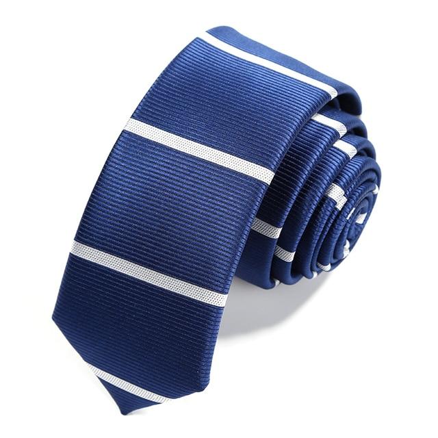 2016 Nueva 5 CM Lazos para Los Hombres de Moda Casual de Negocios Azul Marino azul Blanco A Rayas Corbata Slim Flacos Ocasionales Cravata Caja de Regalo aL5116