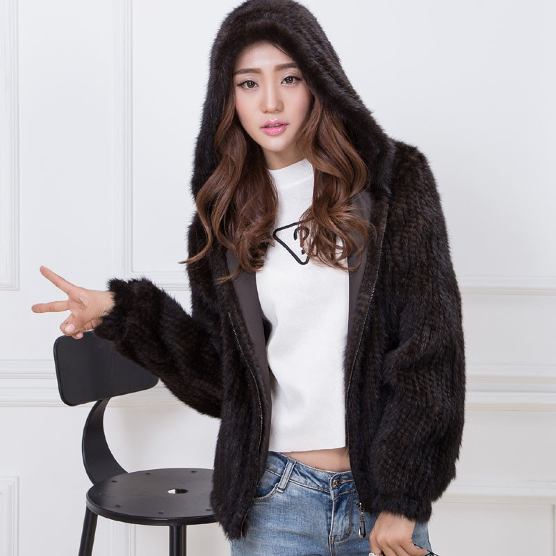 knit mink fur coat brown 5