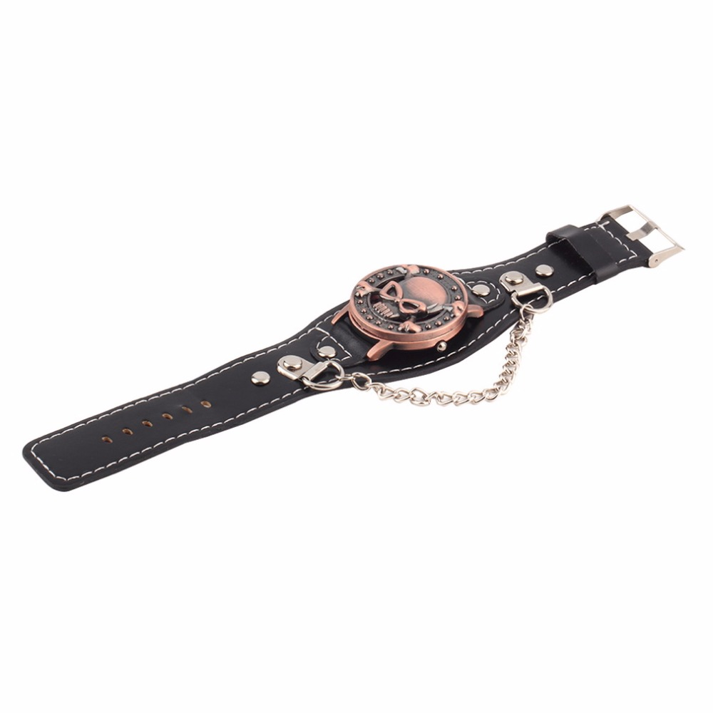 Watches Intelligent New Skull Cover Quartz Watch For Men Women Pu Leather Wristwatches Bracelet Watch Mens Biker Metal Relogio Masculino Orders Are Welcome.
