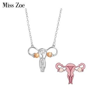 Female Womb pendant necklace Custom zircon pearl Organ medical jewelry Gynecology Medicine Symbol gift for Doctor Nurse