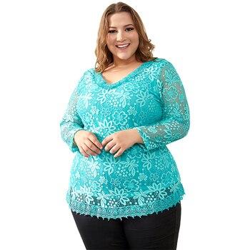 Women Plus Size Big Yards Tops Femme Elegant Floral Lace Spring Autumn T-shirt Elastic Cotton Tee Shirts 6XL 7XL 8XL H009 1