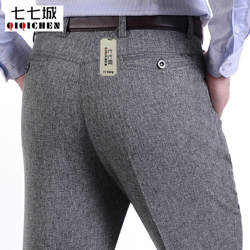 Spring Summer Thin Linen Pants Men Loose Suit Pants Business Casual Soft Breathable Straight Grey Work Regular Male Trousers