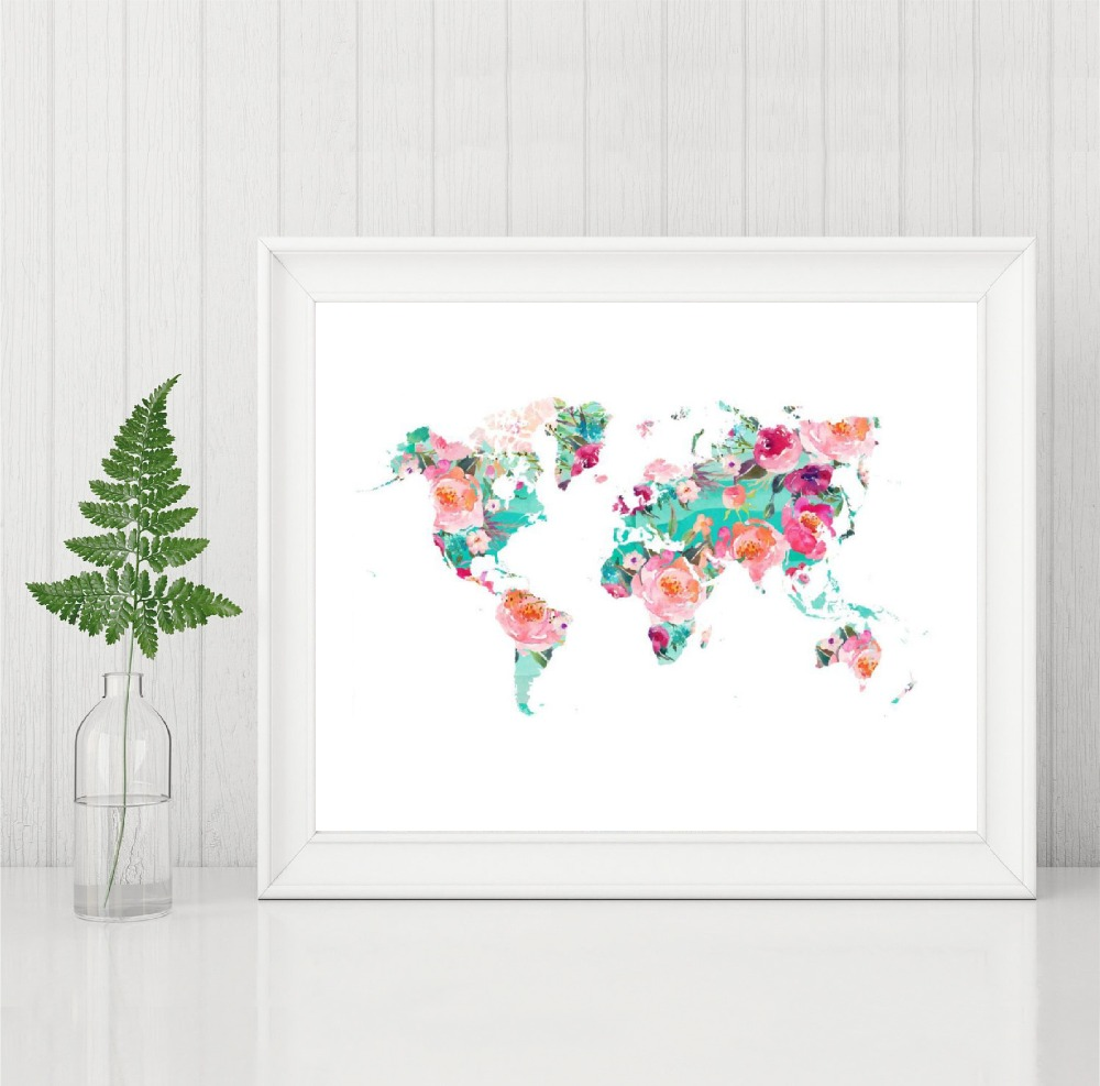 World Map Poster And Print Wall Art Floral Watercolor Map Of The World Geography Travel Canvas Painting Picture Home Decor