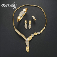 OUMEILY Jewelry Sets Women Luxury African Beads Jewelry Set In Gold Color Wedding Necklace Set Dubai
