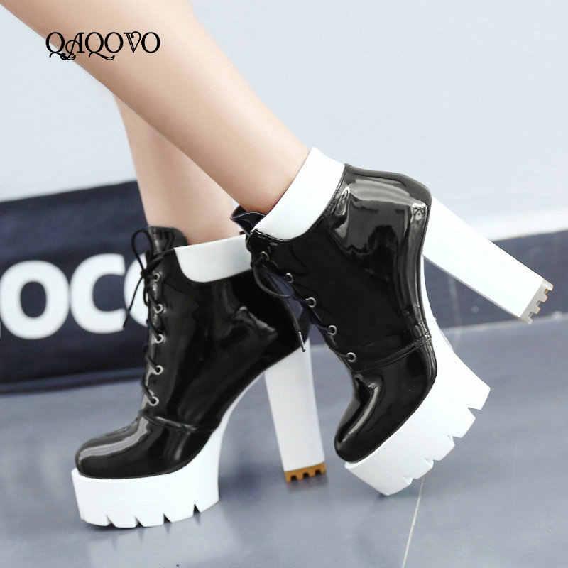 2019 Yeni Moda Çizmeler Kadınlar Patent Deri Kare Yüksek Topuk yarım çizmeler Platformu Bağlama Martin Çizmeler Sonbahar Kış kadın ayakkabısı