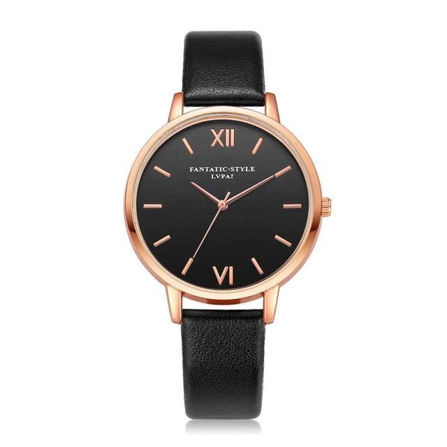 New Popular Leather Rose Gold Women Bracelet Watches Luxury Round Fashion Wristw