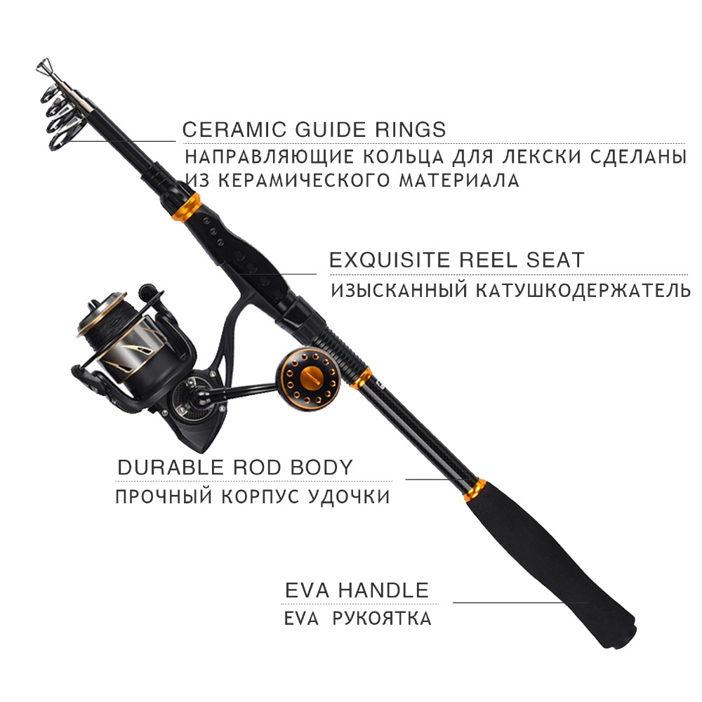 KastKing 99% Carbon 1.8M 2.1M 2.4M 2.7M 3.0M 3.6M Portable Telescopic Fishing Rod Spinning Fish Hand Fishing Tackle Sea Rod