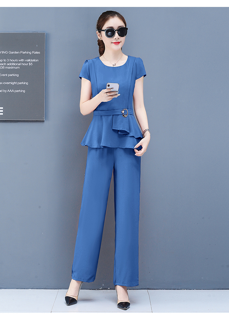 2019 Summer Chiffon 2 Two Piece Sets Outfits Women Plus Size Short Sleeve Tunics Tops And Pants Suits Office Elegant Korean Sets 63