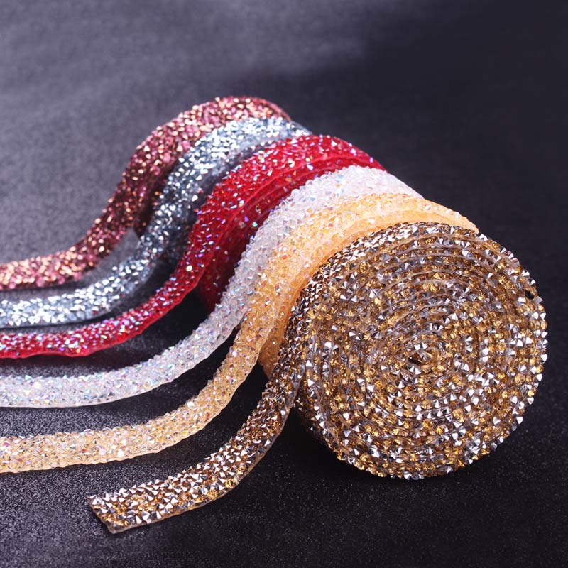 DIY Rhinestones For Clothes Strass Hotfix Rhinestone Tape Applicator Crystal Jewelry Accessories Self-Adhesive Ribbon