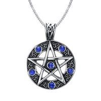 Vintage Style Jewelry Pentagram Pentacle Pagan Wiccan Witch Gothic Pewter Pendant Necklace For Men Woman 24