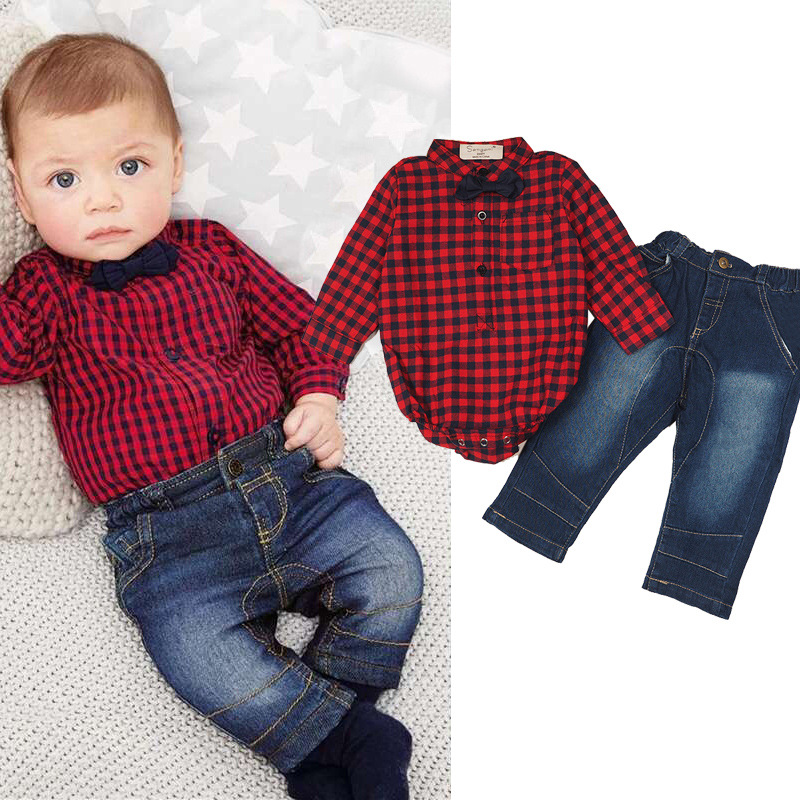 2017 spring Europe and America children 's wear KIDs suits sets of boy clothing plaid shirt + jeans boys clothing set 0 1 2years shivali singla jasmaninder singh grewal and amardeep singh kang wear behavior of hardfacings
