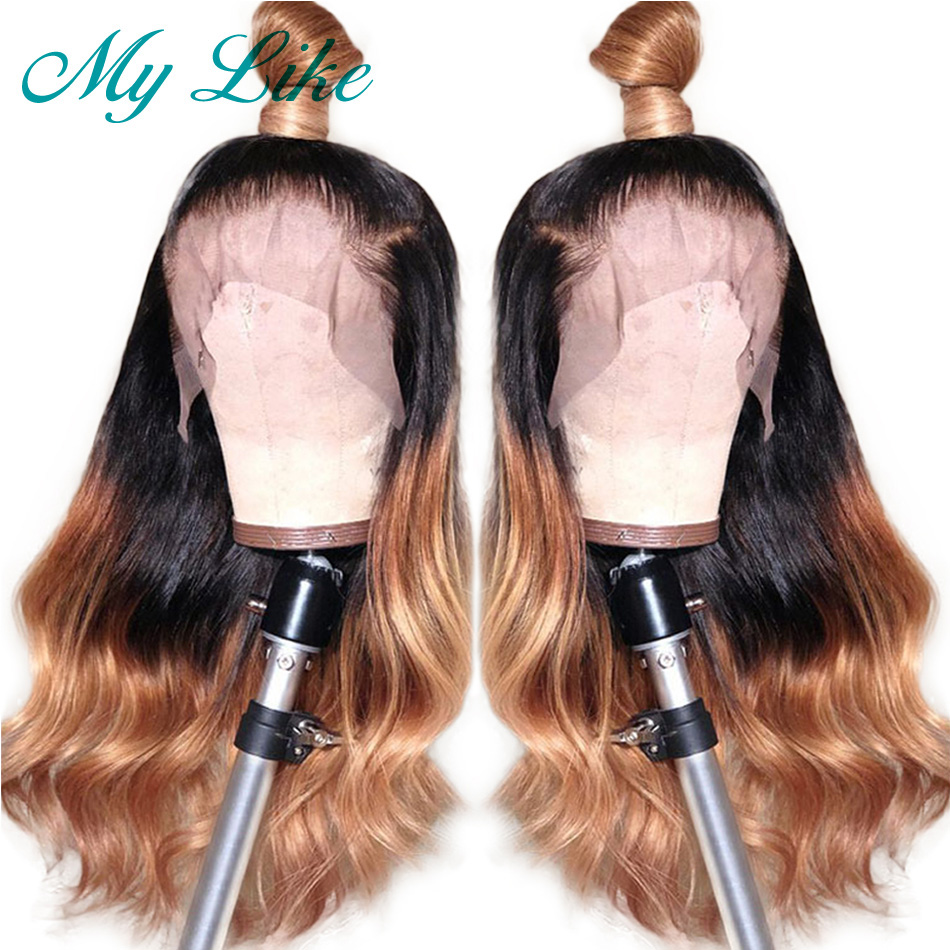 My Like Ombre Brazilian Body Wave 360 Lace Frontal Wigs 1b/27 Human Hair Wigs  Pre Plucked With Baby Hair Remy 360 Lace Wigs