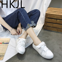HKJL Spring 2019 new Korean version baotou flat womens slippers board shoes half canvas A514