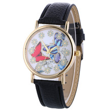 New Design 2016  Hot Sale  Women's Graceful Butterfly Pattern Ladies PU Leather Band Quartz Wrist Watch New  montre femme Sep14