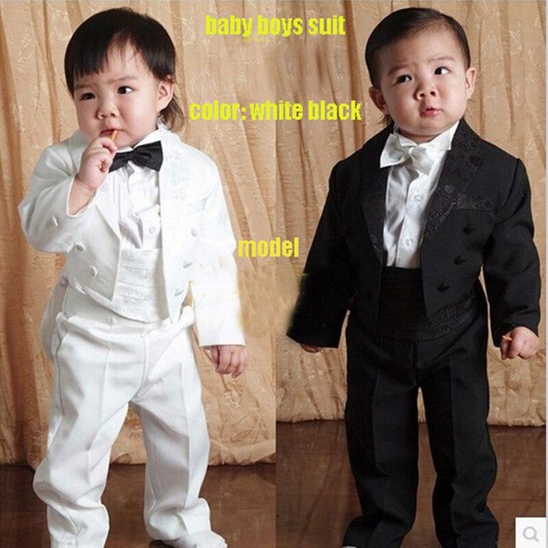 Baby Wedding Boys Suits Jackets Five Pieces Black 1-4 Y Gentleman Toddler Baby Tuxedo Boys Blazer Jacket Children Clothing Set