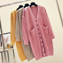 Woman Autumn Winter Long Cardigan Sweater Knitted 2019 Korean Drop Shoulder Loose Sweaters Cardigan Pocket Sweater Coat Tops New drop shoulder self tie cardigan