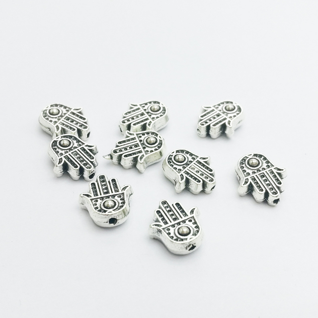 30pcs/lot  10*11.5mm Hamsa Hand Bead Spacer Bead Charms for Diy Beaded Bracelets Jewelry Handmade Making