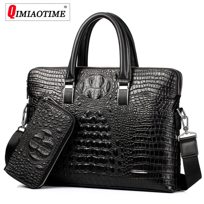 Men Business Computer handbag Crocodile Pattern Men Genuine Leather Bag European and American Fashion Shoulder Messenger Bag stylish people and american flag pattern 10cm width men s wacky tie