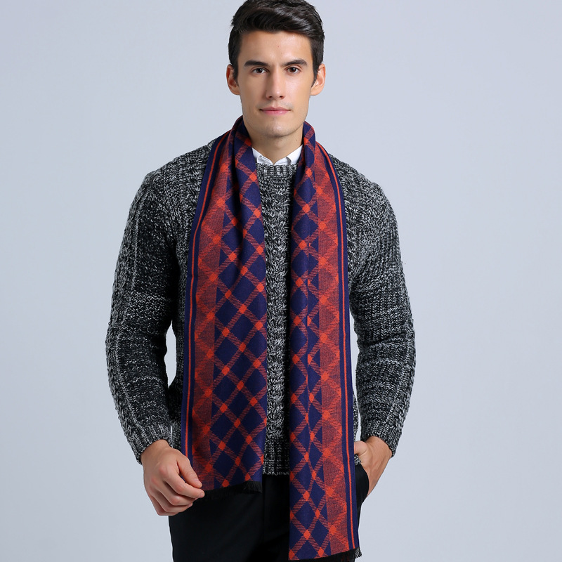 Winter Fashion Scarf Luxury Brand Men Business Scarf Casual font b Tartan b font Jacquard Scarves
