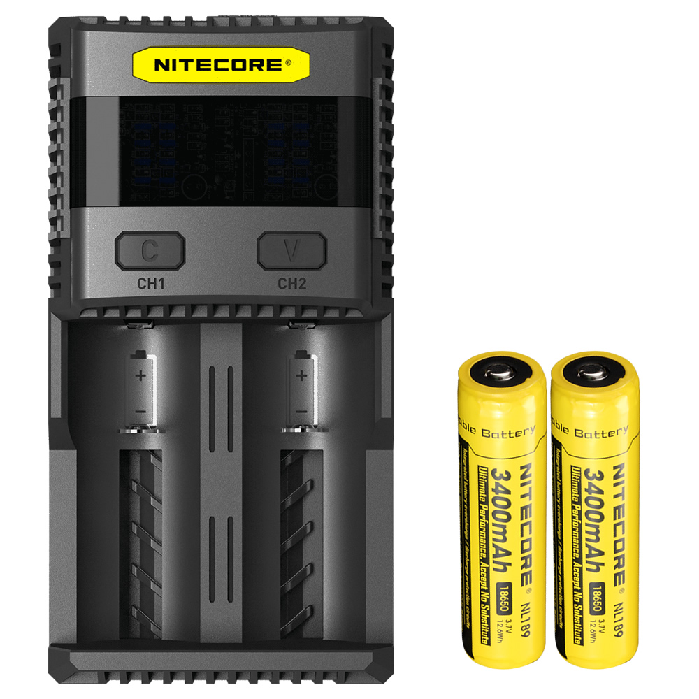 2017 New NITECORE SC2 Intelligent Charging Li-on Ni-MH 3A Speedy Charge Output Super Battery Charger+2*18650 Batteries 3400mAh