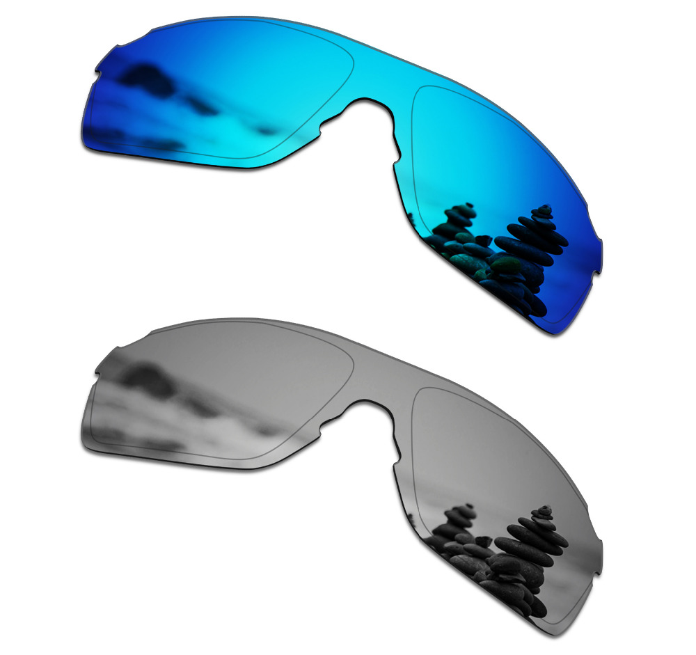 SmartVLT 2 Pieces Polarized Sunglasses Replacement Lenses for Oakley EVZero Pitch Ice Blue and Silver Titanium
