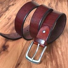 Stainless Steel Belt Buckle Leather Men TOP Thick Luxury Genuine Vintage Ceinture Homme Strap MBT0546
