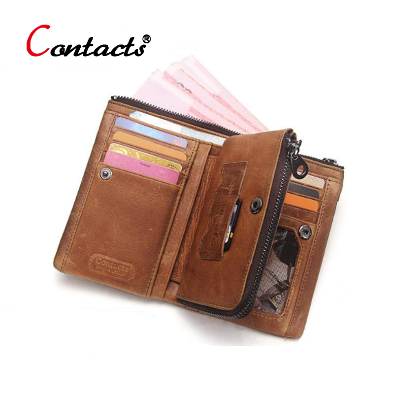 купить CONTACT'S Genuine leather Men Wallet Male Purse Small Wallet Money Credit Card Holder Coin Purse Change Clutch Organizer Walet по цене 1107.68 рублей