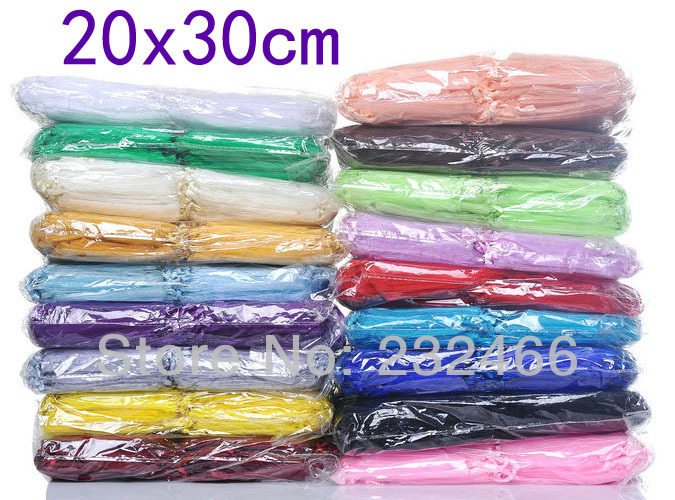 Wholesale Organza Bags 20x30cm Drawable Wedding Gift Bags Pouches 200pcs lot