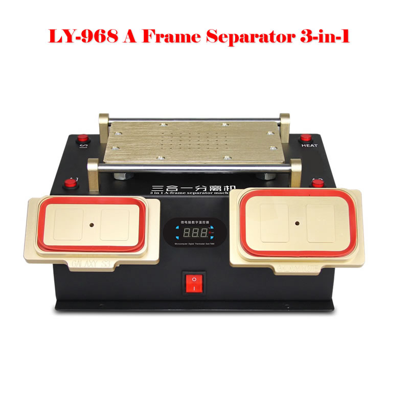 NEW LY 968 3 in 1 A-frame Separator built-in Vacuum Pump for iPhone Samsung Mobile Phone Repair AC100-240V 3 in 1 for sumsung bezel middle frame separator vacuum glass panel lcd screen separator preheater