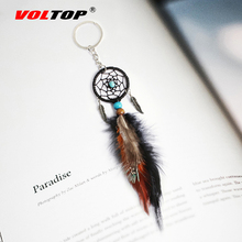 VOLTOP Dreamcatcher Car Ornaments Pendant Hanging Decoration Ancient Silver Leaves Key Chain Catch Dream Net Ring
