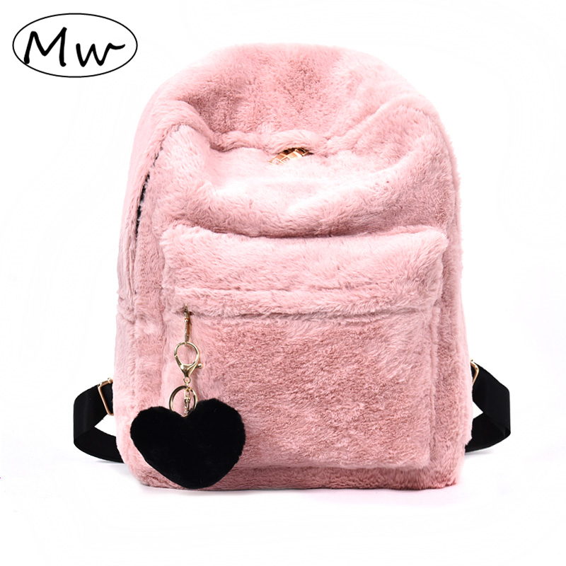 Moon Wood Cute Solid Faux Fur Backpack Heart Pendant Winter Soft Women's Big Plush Backpack Pink Black White Rucksack Mochila