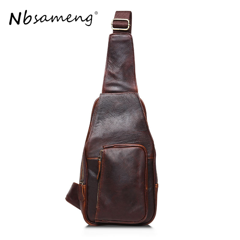 NBSAMENG High Quality Vintage Casual 100% Genuine Leather Crazy Horse Leather Men Chest Bag Pack Shoulder Bags For Man niuboa new casual leather shoulder bags genuine leather men chest bag high quality retro crazy horse small messenger bag for man