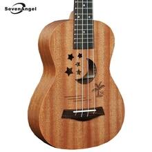 SevenAngel Brand 21 Inch Acoustic Electric Ukulele 4 Strings Guitar sapele Body Star Moon partten Ukelele Hot selling Gift